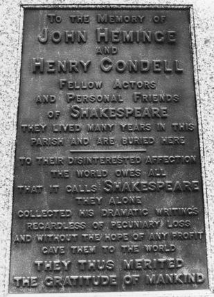 Monument to John Heminge and Henry Condell