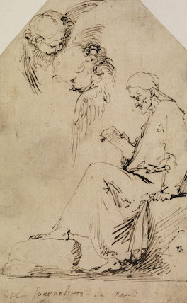 Sheet of studies with a seated man reading and two cherubim