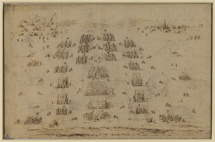 Battle scene with the destruction of a village at the top left (recto)