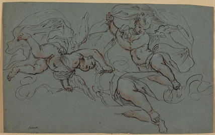 Study of two flying angels and of the legs of one