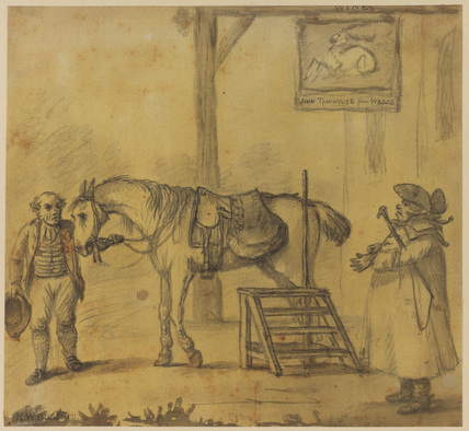 Ostler and coachman outside an inn
