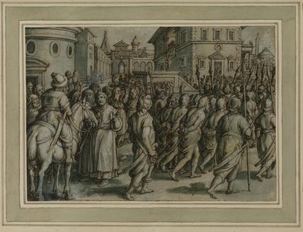 Procession of captives through a city