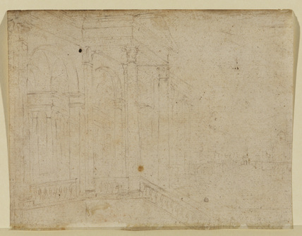 Colonnade with view of a town (verso)
