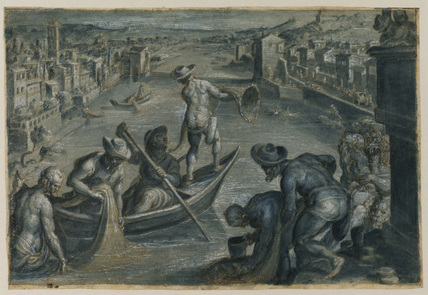 View of the river Arno in Florence, looking upstream, with fisherman and a river god