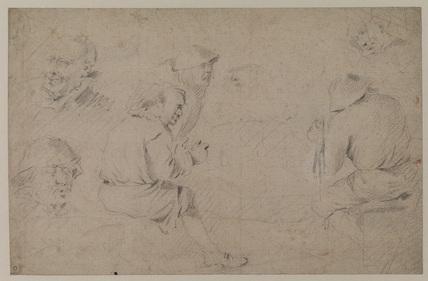 Studies of peasants - six heads (recto)