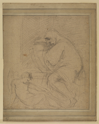 Draped female figure with an urn, and a sleeping Amor