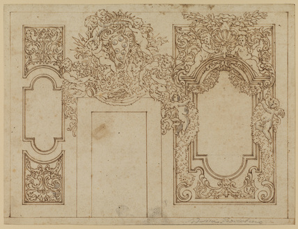 Design for a wall decoration with the arms of the Medici with the grand ducal cornet (recto)