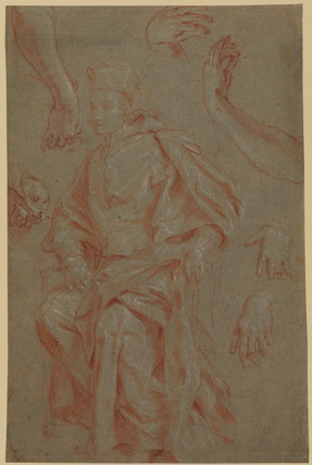 Study of a seated ecclesiastic and hands (recto)