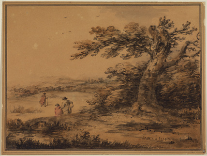 Country scene with figures and church spire