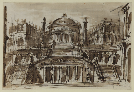 Pantheon in an imaginary architectural setting (recto)