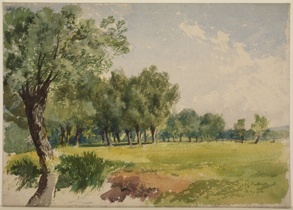 Wooded meadow by a stream (recto)