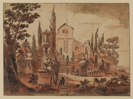 Italian landscape with church, churchyard and figures (recto)