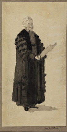 Man in academic robes reading from a paper