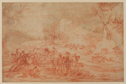 Landscape, with an attack on a convoy of coaches