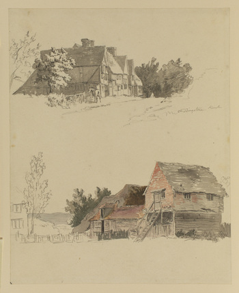 Cottages at Chiddingstone, Kent (two drawings on one sheet)