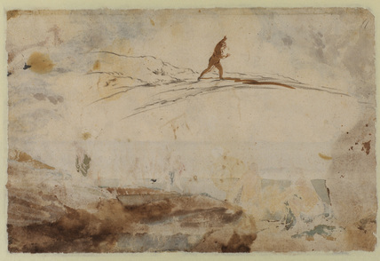 Study of nude female figure on a bank (verso)