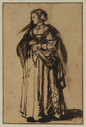 The artist's wife, Saskia, standing and holding a flower in her right hand