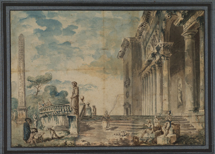Landscape with ruins and figures
