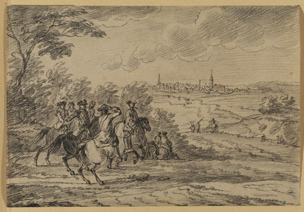 Horseman in a landscape with walled town in background