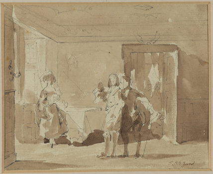 Interior with three figures