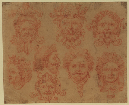 Studies of eight grotesque masks