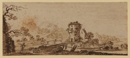 Landscape with river and footbridges