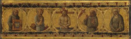 Predella panel - Dead Christ with Saints Bernardino, Jerome, Francis and Clare