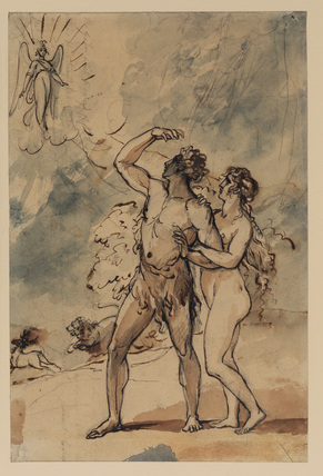 Adam and Eve expelled from Paradise (recto)