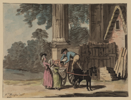 Landscape with horse and cart and three figures before a ruined building, a man tipping grain (?) into a woman's apron
