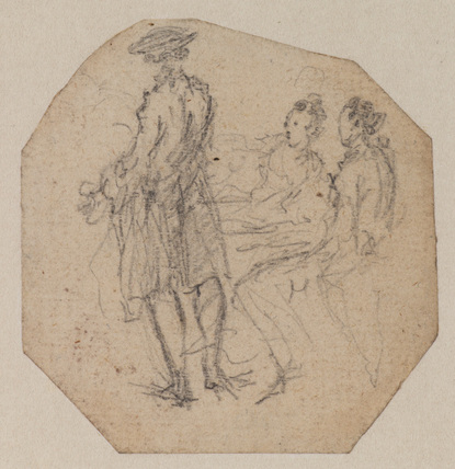 Back view of a standing man, a seated man and woman on the right