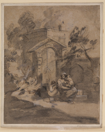 Woman and children sitting in front of the entrance gate to a house