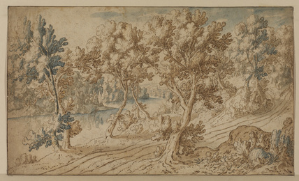 Wooded landscape with a river and a road
