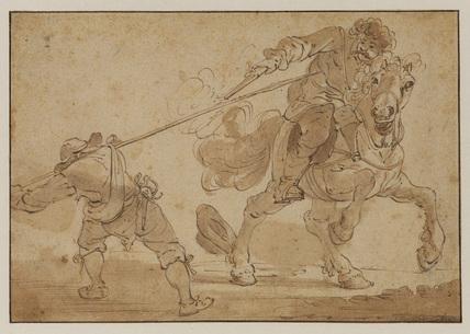 Combat between a horseman and foot soldier