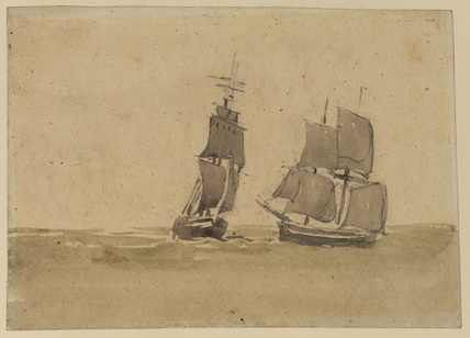 Two sailing ships (recto)