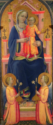Virgin and Child enthroned, with two angels