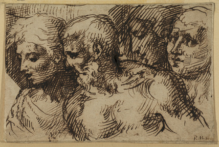 Two heads, a bearded man and youth, and two men, one in profile and one in three-quarter view, all facing left
