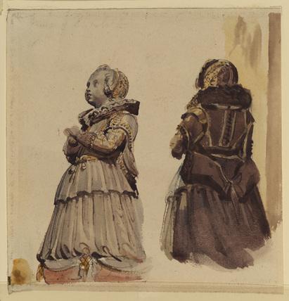 Two studies from a sculptured tomb figure (girl kneeling in devotion)
