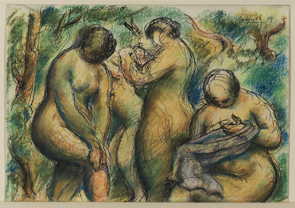 Four bathers in a landscape