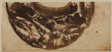 Design for a cartouche incorporating the Grand Ducal Coronet and an allegory of Truth (recto)