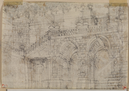 Exterior of a palace with trees (same building) (verso)