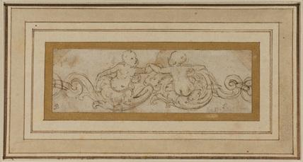 Ornamental motif of foliage and putti