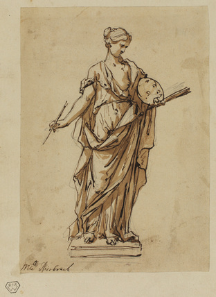 Female figure with palette and brush on a base