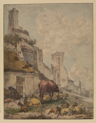 Landscape with cattle outside a town hall