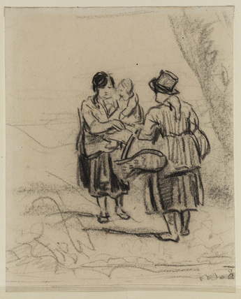 Two women, one with a child in her arms, the other with a basket