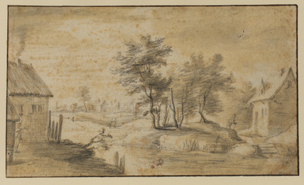 Landscape with houses by a stream