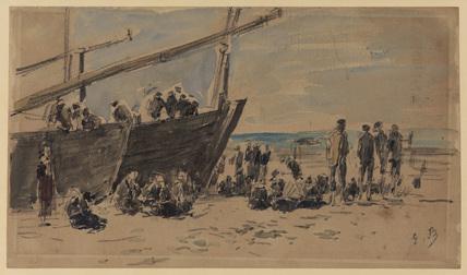 Boats and fishermen on the beach, Berck