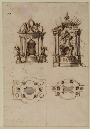 Two designs for a tabernacle, with the Chair of Saint Peter, and corresponding plans
