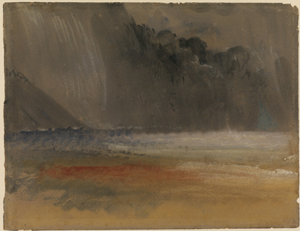 Heaped thundercloud over sea and land