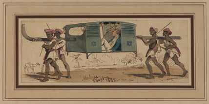 Englishman in a palanquin (or palauquin) carried by four Indians