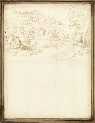 Town on the banks of a river (verso)